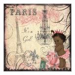 Ethnic Princess Paris Eiffel Tower Baby Shower Custom Announcements