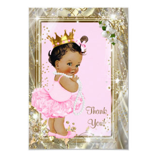 Ethnic Princess Pearls Flat Baby Shower Thank You 9 Cm X 13 Cm Invitation Card