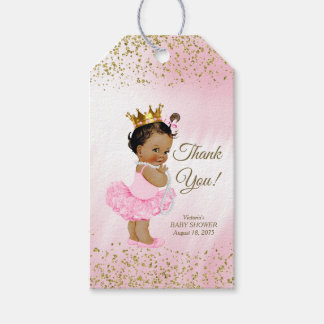 Ethnic Princess Pink Gold Baby Shower Gift Tags