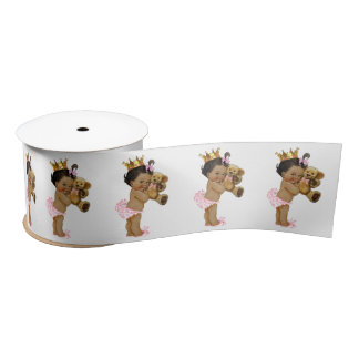 Ethnic Princess Teddy Bear Girl Baby Shower Satin Ribbon
