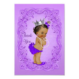 Ethnic Princess Thank You Baby Shower Purple Frame 9 Cm X 13 Cm Invitation Card