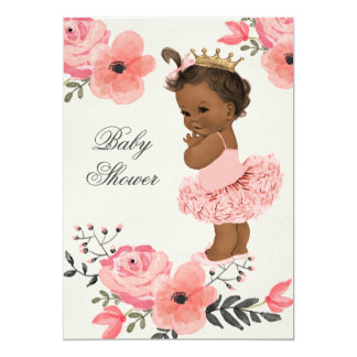 "Ethnic Princess Tutu Floral Watercolor Baby Shower 5"" X 7"" Invitation Card"