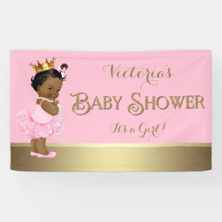 Ethnic Princess Tutu Pearls Baby Shower Banner