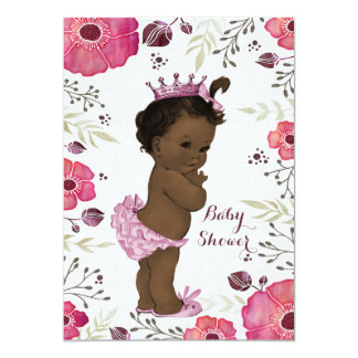 "Ethnic Princess Watercolor Poppies Baby Shower 5"" X 7"" Invitation Card"