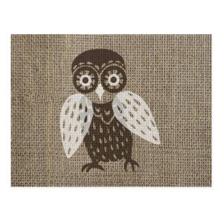 Ethnic retro owl postcard