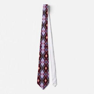 Ethnic rhombus Andes design crimson and purple Tie