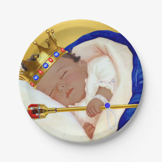 Ethnic Royal Prince Boy Baby Shower Paper Plate