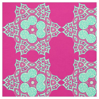 Ethnic sea green design fabric