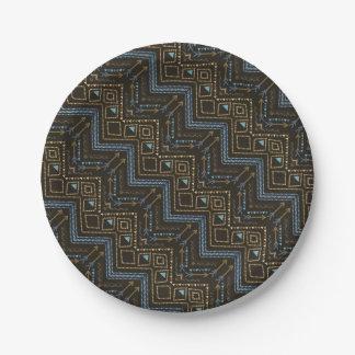 Ethnic seamless tribal boho pattern 7 inch paper plate