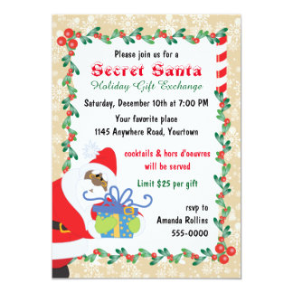 Ethnic Secret Santa with Present 13 Cm X 18 Cm Invitation Card