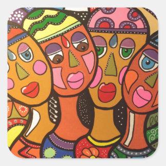 ethnic square sticker