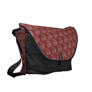 Ethnic Style Floral Mini-print Beige on Maroon Commuter Bag