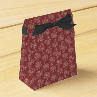 Ethnic Style Floral Mini-print Beige on Maroon Favour Box