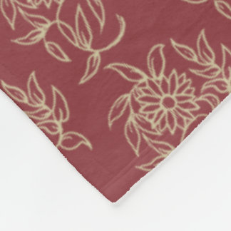Ethnic Style Floral Mini-print Beige on Maroon Fleece Blanket