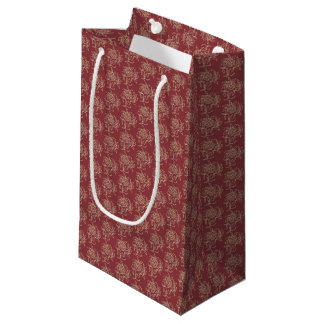 Ethnic Style Floral Mini-print Beige on Maroon Small Gift Bag