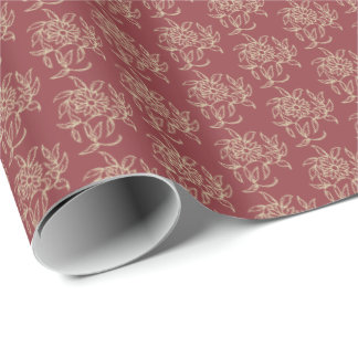 Ethnic Style Floral Mini-print Beige on Maroon Wrapping Paper