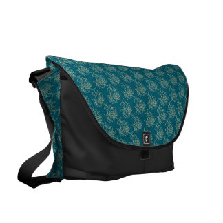 Ethnic Style Floral Mini-print Beige on Teal Commuter Bag