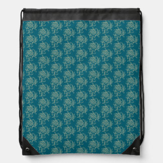 Ethnic Style Floral Mini-print Beige on Teal Drawstring Bag