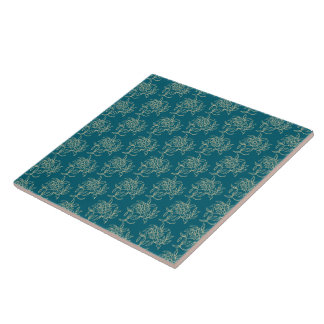Ethnic Style Floral Mini-print Beige on Teal Large Square Tile