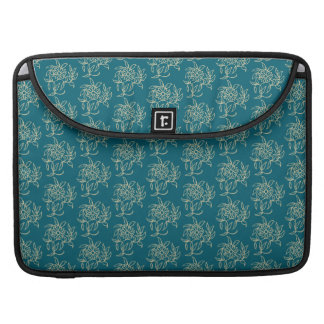 Ethnic Style Floral Mini-print Beige on Teal MacBook Pro Sleeve