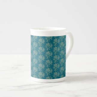 Ethnic Style Floral Mini-print Beige on Teal Tea Cup