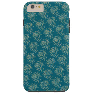 Ethnic Style Floral Mini-print Beige on Teal Tough iPhone 6 Plus Case