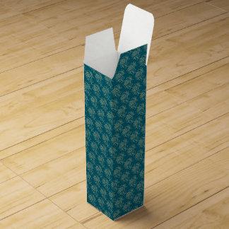 Ethnic Style Floral Mini-print Beige on Teal Wine Box