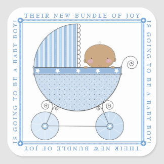 Ethnic Sweet Baby Boy in Carriage Baby Shower Blue Square Sticker