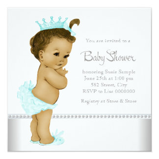 Ethnic Teal Blue Baby Girl Shower 5.25x5.25 Square Paper Invitation Card