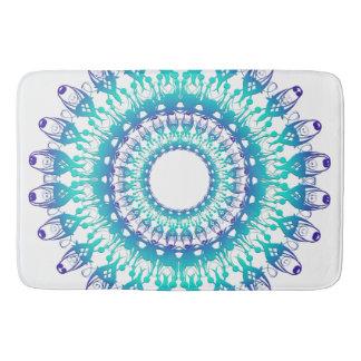 ethnic teal mandala bath mat