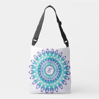 Ethnic teal mandala. monogram. crossbody bag