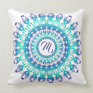 Ethnic teal mandala. monogram. cushion