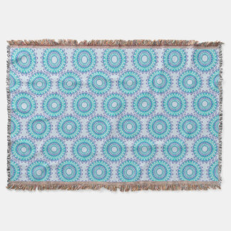 ethnic teal mandala pattern. throw blanket
