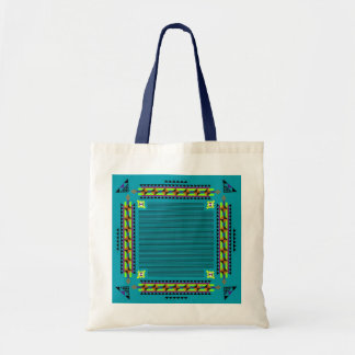 Ethnic: Turquoise Budget Tote Bag