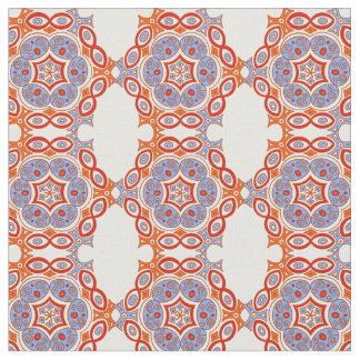 Ethnic turquoise, red and orange pattern fabric