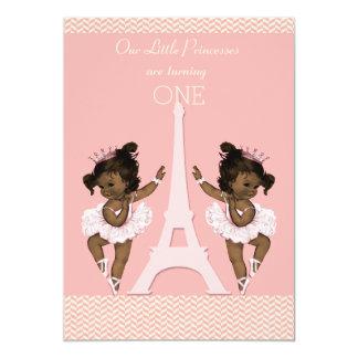 Ethnic Twins Ballerinas Eiffel Tower 1st Birthday 5x7 Paper Invitation Card