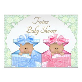 Ethnic Twins in Gift Box Roses Baby Shower 5x7 Paper Invitation Card
