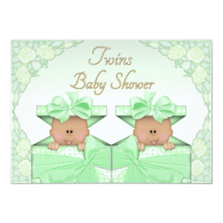 Ethnic Twins in Gift Box Roses Neutral Baby Shower Personalized Invite