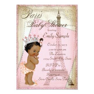 "Ethnic Vintage Paris Baby Shower 4.5"" X 6.25"" Invitation Card"