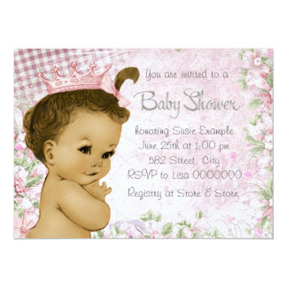 "Ethnic Vintage Pink Baby Shower 5.5"" X 7.5"" Invitation Card"