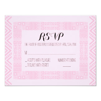 "Ethnic Wedding RSVP Response Card Personalized #2 4.25"" X 5.5"" Invitation Card"