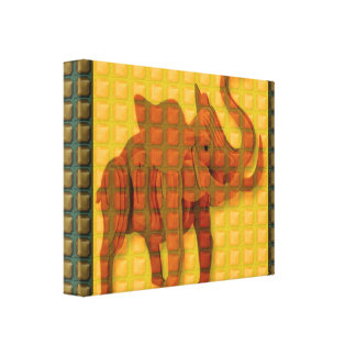 Ethnic Woodcraft based ELEPHANT Art BNW FUN GIFT Stretched Canvas Prints
