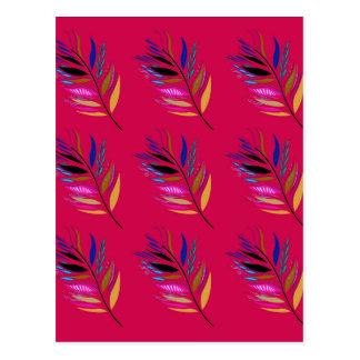 ETHNO DESIGN Leaves Pink Postcard