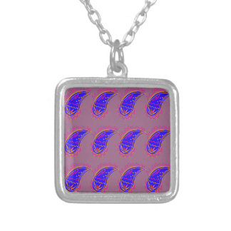 Ethno design paisleys blue pink silver plated necklace