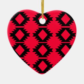 Ethno design  Red  mayan design Ceramic Ornament