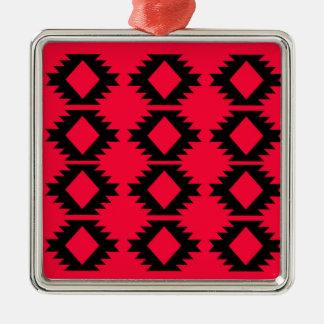 Ethno design  Red  mayan design Metal Ornament