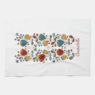 Ethno Flowers design by LoLah Studio Tea Towel