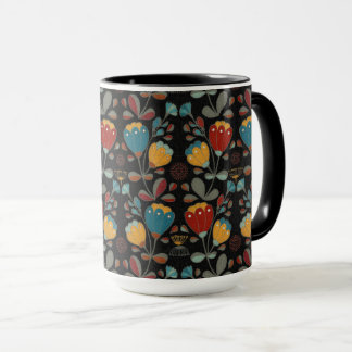 Ethno Flowers design dark Mug