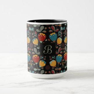 Ethno Flowers design dark with monogram Mug