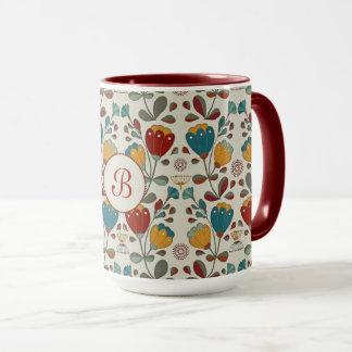 Ethno Flowers design with monogram Mug